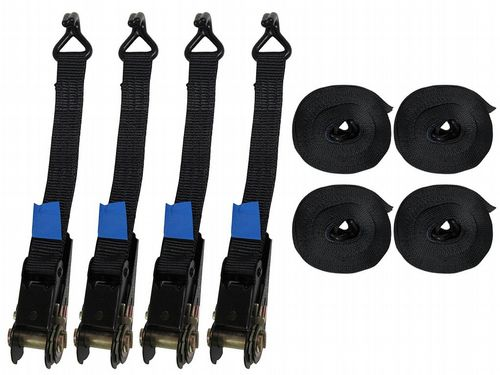x4 25MM 2 Metre 0.8 Ton Black Ratchet Lashings with Claw Hooks - 800KG 2M Tie Down
